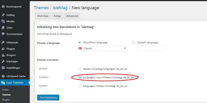 Oversæt WordPress til dansk