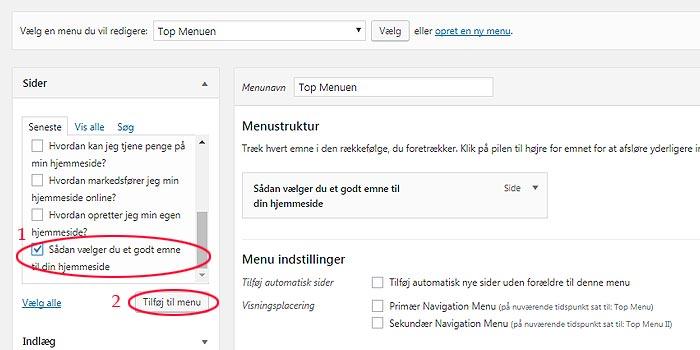 Guide til menuer i WordPress