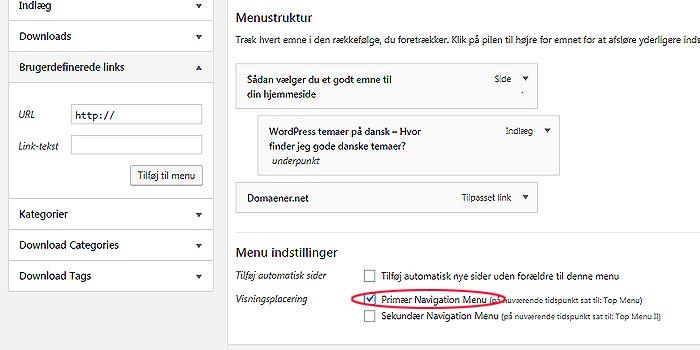 Ændre menustruktur i WordPress