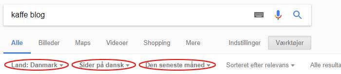 Avanceret søgning Google