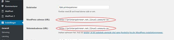 Opdater URL i WordPress