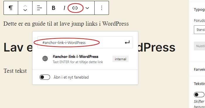 Opret anker links i WordPress