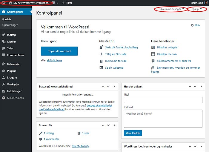 WordPress kontrolpanel / dashboard