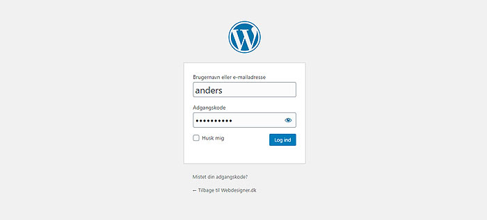 WordPress login boks
