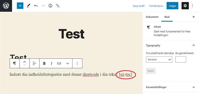 Indsæt WordPress shortcode