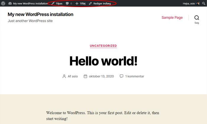 WordPress værktøjslinje