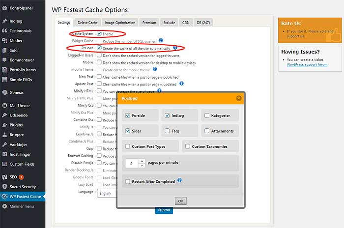 WP Fastest Cache Options