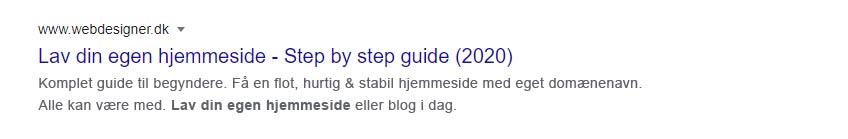 Webdesigner i Google søgeresultater